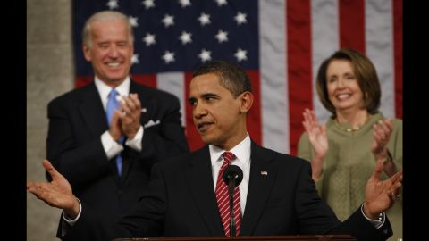 """Obama acknowledges applause before addressing a joint session of Congress <a href=""""http://www.cnn.com/2009/POLITICS/02/24/obama.speech/index.html"""" target=""""_blank"""">for the first time</a> on February 24, 2009. The President focused on the three priorities of the budget he presented to Congress later in the week: energy, health care and education."""