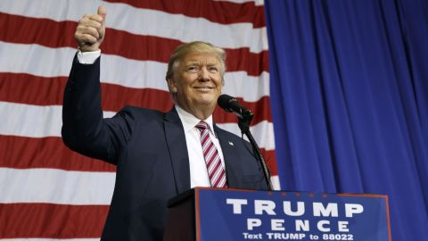 Republican presidential candidate Donald Trump gestures as he arrives to speak at a campaign rally at the Delaware County Fair, Thursday, Oct. 20, 2016, in Delaware, Ohio. (AP Photo/ Evan Vucci)