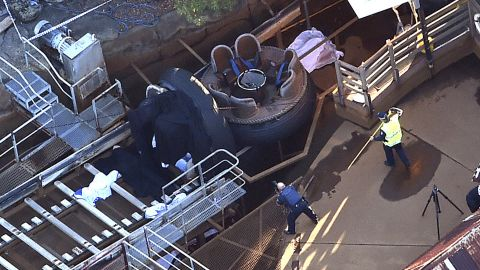 Investigators examine the ride and the site of the accident.