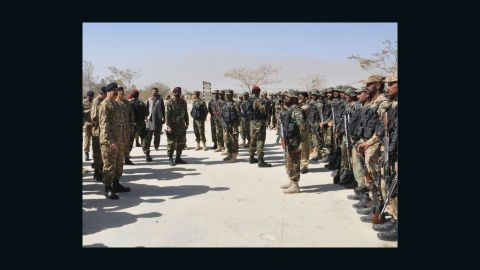 Pakistan's Gen. Raheel Sharif addresses officers during his visit to the Quetta police training center in the wake of the attack.