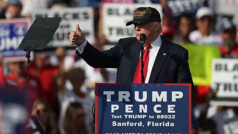 Donald Trump speaks during a campaign rally at the Million Air Orlando, which is at Orlando Sanford International Airport on October 25, 2016 in Sanford, Florida.