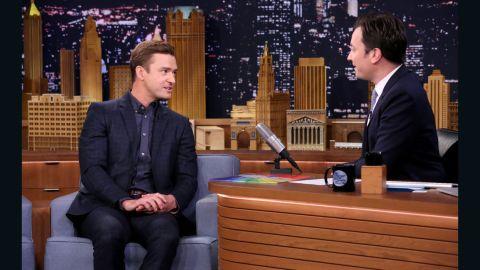 """Justin Timberlake jokes with """"Tonight Show"""" host Jimmy Fallon about his recent voting snafu."""
