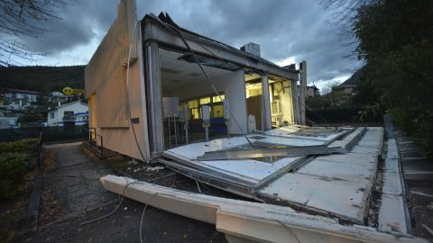 Visso was among the more heavily damaged towns, including this post office on October 27.