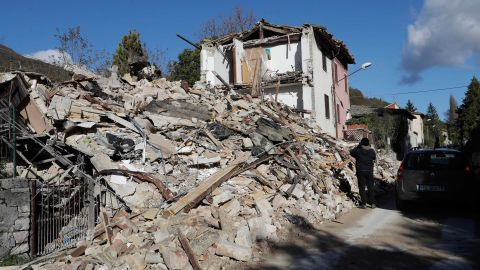 A completely destroyed house in the small town of Visso in central Italy after a 5.9 earthquake destroyed part of the town.