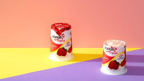 For a standard 6-ounce container of Yoplait yogurt (strawberry), one plus four-fifths of another equals 33 grams of sugar.