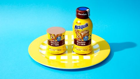 For an 8-ounce bottle of Nesquik low-fat chocolate milk, one and a half bottles equals 33 grams of sugar.