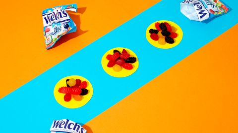 For a 0.9 oz bag of Welch's Mixed Fruit snacks, there are 33 grams of sugar in three bags.