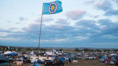 A Standing Rock Sioux flag flies over a protest encampment near Cannon Ball, North Dakota.