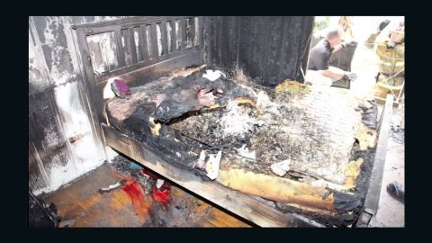 The charred bed in Andrea DelVesco's room.