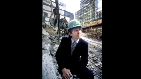 Trump wears a hard hat at the Trump Tower construction site in New York in 1980.