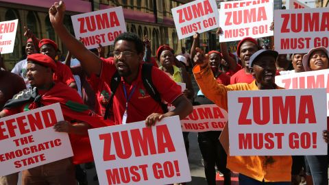 Economic Freedom Fighters supporters march Wednesday in downtown Pretoria.