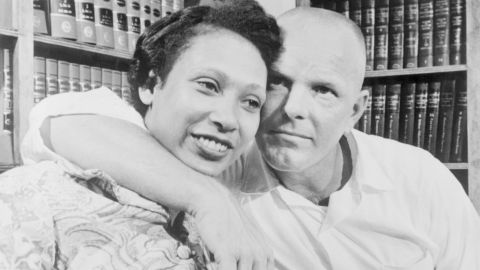 Mildred and Richard Loving, the couple at the center of the Supreme Court's unanimous ruling in 1967 that a Virginia law banning marriage between African Americans and Caucasians was unconstitutional.