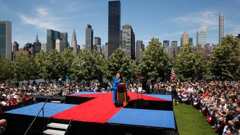 """Democratic candidate Hillary Clinton, a former first lady and secretary of state, delivers a speech at a New York City park on June 13, 2015. Clinton used <a href=""""http://www.cnn.com/2015/06/13/politics/hillary-clinton-roosevelt-island-rally/"""" target=""""_blank"""">the first major rally of her campaign</a> to make a populist case, declaring that the goal of her presidency would be to tip the nation's economic scales back toward the middle class' favor."""