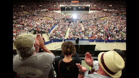 """People in Madison, Wisconsin, cheer at a campaign rally for U.S. Sen. Bernie Sanders on July 1, 2015. The Vermont independent, seeking the Democratic Party's presidential nomination, <a href=""""http://www.cnn.com/2015/07/01/politics/bernie-sanders-crowds-wisconsin-2016/"""" target=""""_blank"""">drew nearly 10,000 supporters in Madison.</a>"""