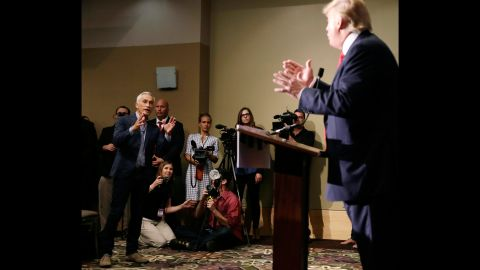 """Univision anchor Jorge Ramos, left, asks Trump a question about his immigration plan during a news conference in Dubuque, Iowa, on August 25, 2015. Ramos squabbled with Trump twice during the event, and at one point a security officer <a href=""""http://www.cnn.com/2015/08/25/politics/donald-trump-megyn-kelly-iowa-rally/index.html"""" target=""""_blank"""">ejected Ramos</a> before he was allowed back in."""