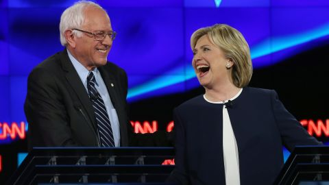 """During a <a href=""""http://www.cnn.com/2015/10/13/politics/gallery/democratic-debate-las-vegas/index.html"""" target=""""_blank"""">Democratic debate</a> on October 13, 2015, Sanders and Clinton shared a lighthearted moment following Sanders' take on <a href=""""http://www.cnn.com/2015/09/03/politics/hillary-clinton-email-controversy-explained-2016/"""" target=""""_blank"""">the Clinton email scandal.</a> """"The American people are sick and tired of hearing about your damn emails,"""" Sanders said. """"Enough of the emails. Let's talk about the real issues facing the United States of America."""" Clinton said, """"Thank you, me too,"""" and then later shook his hand to the applause of the audience."""