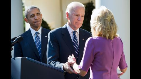 """U.S. Vice President Joe Biden turns to his wife, Jill, after announcing October 21, 2015, that <a href=""""http://www.cnn.com/2015/10/21/politics/joe-biden-not-running-2016-election/"""" target=""""_blank"""">he would not be running for President.</a> The announcement took place at the White House Rose Garden with President Barack Obama."""