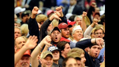"""Trump supporters boo the media after a heckler was removed from a campaign stop in Birmingham, Alabama, on November 21, 2015. Trump <a href=""""http://money.cnn.com/2016/08/14/media/donald-trump-media-bias-first-amendment/"""" target=""""_blank"""">has been critical of the press</a> throughout the campaign, saying it is biased against him, and he has denied press credentials to several prominent news outlets, including The Washington Post, Politico and The Daily Beast."""