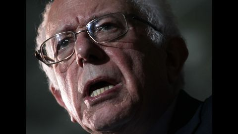 Sanders speaks during a campaign event in Des Moines, Iowa, on January 31, 2016.