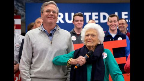 """Former first lady Barbara Bush jokes with her son Jeb while <a href=""""http://www.cnn.com/2016/02/04/politics/barbara-bush-jeb-2016-election/"""" target=""""_blank"""">introducing him at a town-hall meeting</a> in Derry, New Hampshire, on February 4, 2016."""
