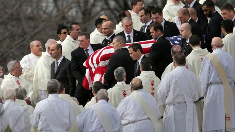 """Pallbearers carry the flag-covered casket of Supreme Court Justice Antonin Scalia during his funeral in Washington on February 20, 2016. The vacancy left by Scalia's death -- and when and how to fill it -- <a href=""""http://www.cnn.com/2015/09/11/politics/supreme-court-2016-election/"""" target=""""_blank"""">added another hot-button topic</a> to the presidential campaign."""
