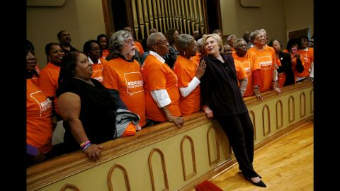 """Clinton greets supporters at a town-hall meeting in Florence, South Carolina, on February 25, 2016. Her <a href=""""http://www.cnn.com/2016/02/27/politics/south-carolina-primary-highlights/"""" target=""""_blank"""">landslide victory in the South Carolina primary</a> restored her as the undisputed front-runner in the Democratic race."""