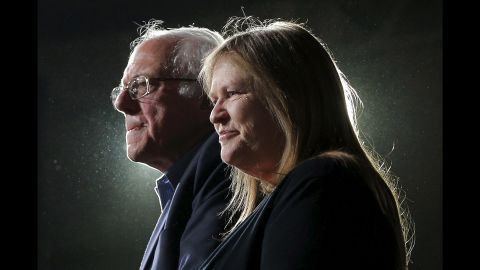 Bernie Sanders is joined by his wife, Jane, at a rally in Burlington, Vermont, on March 1, 2016. Sanders won his state's primary on Super Tuesday, but he lost to Clinton in seven of the other 10 states.