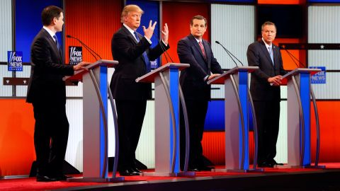 """Trump holds up his hands during a Republican debate in Detroit on March 3, 2016. Trump assured American voters that despite what Rubio had suggested, <a href=""""http://www.cnn.com/2016/03/03/politics/donald-trump-small-hands-marco-rubio/"""" target=""""_blank"""">there was """"no problem"""" with the size of his hands</a> -- or anything else."""