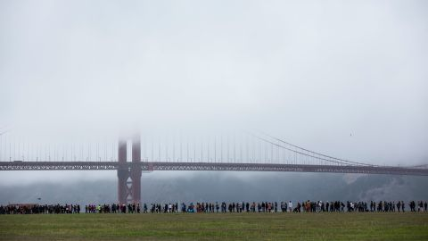 People wait in line to attend a Sanders rally in San Francisco on June 6, 2016.