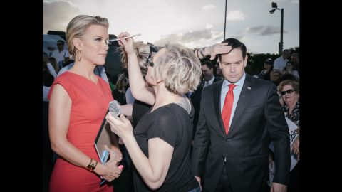 """Rubio and Fox News anchor Megyn Kelly are touched up before an interview in Hialeah, Florida, on March 9, 2016. Rubio <a href=""""http://www.cnn.com/2016/03/15/politics/marco-rubio-drops-out/"""" target=""""_blank"""">dropped out of the race</a> a week later after losing in his home state."""