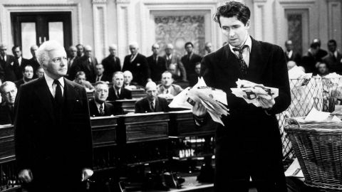 """James Stewart stars as a a new politician who takes on corruption in the now classic <strong>""""Mr. Smith Goes to Washington."""" </strong>"""