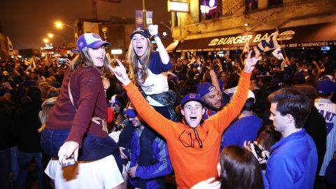 RESTRICTED  CLEVELAND, USA - NOVEMBER 02: Chicago Cubs fans celebrate after the game 7 of the World Series between Cleveland Indians and Chicago Cubs in Cleveland, Ohio, USA on November 2, 2016. The Cubs win the World Series championship after 108 years.   (Photo by Bilgin S. Sasmaz/Anadolu Agency/Getty Images)