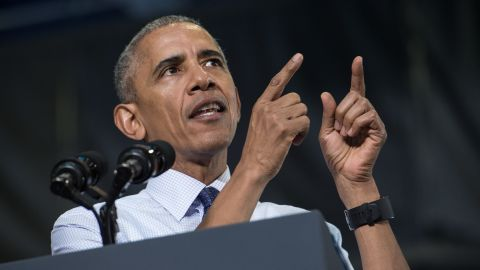US President Barack Obama speaks at a rally for Democratic presidential candidate Hillary Clinton at the University of North Florida in Jacksonville, Florida, on November 3, 2016.