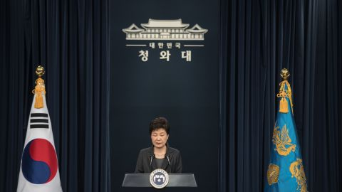 """South Korea's President Park Geun-Hye speaks during an address to the nation at the presidential Blue House in Seoul on November 4, 2016. Park on November 4 agreed to submit to questioning by prosecutors investigating a corruption scandal engulfing her administration, accepting that the damaging fallout was """"all my fault"""". / AFP / POOL / Ed JONES AND Ed Jones        (Photo credit should read ED JONES/AFP/Getty Images)"""