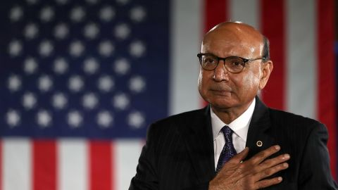 Khizr Khan looks on during a campaign rally with Democratic presidential nominee former Secretary of State Hillary Clinton at The Armory on November 6, 2016 in Manchester, New Hampshire.