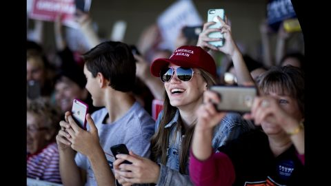 Trump supporters take photos in Minneapolis on November 6.