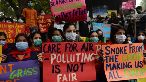 Protesters wearing protective masks take part in a rally urging immediate action to curb air pollution in New Delhi on November 6, 2016.