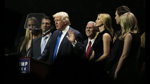 Trump's family -- as well as Trump's running mate, Indiana Gov. Mike Pence -- join the candidate for a rally in Manchester, New Hampshire, on Monday, November 7.