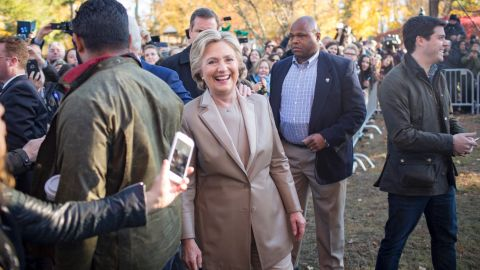 Presidential Candidate Hillary Clinton, joined by her husband, former President Bill Clinton, votes for President of the United States at  Douglas G Grafflin School in Chappaqua, NY. After voting, they visited outside the school with locals.  20161108. Photo by Callie Shell.