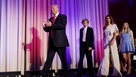 """Trump walks on stage with his family after he was declared the election winner on November 9. """"Ours was not a campaign, but rather, an incredible and great movement,"""" he told his supporters in New York."""