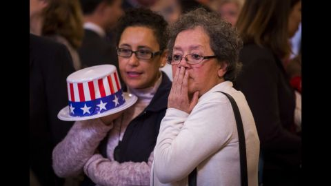 People attending an election event in The Hague, Netherlands, react as Trump is declared the winner on November 9.