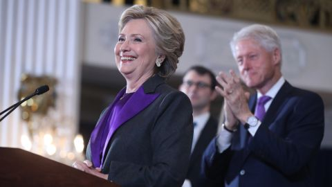 """After conceding the presidency to Trump in a phone call earlier, <a href=""""http://www.cnn.com/2016/11/09/politics/clinton-to-offer-remarks-in-new-york-city/index.html"""">Clinton addresses supporters and campaign workers</a> in New York on Wednesday, November 9. Her defeat marked a stunning end to a campaign that appeared poised to make her the first woman elected US president."""