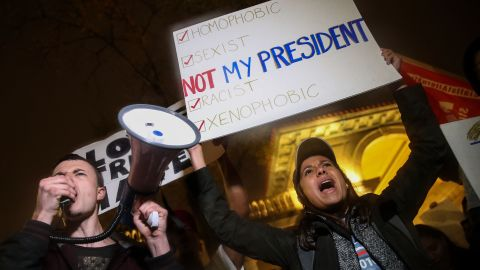 Protesters rally against Trump in New York's Union Square on November 9.