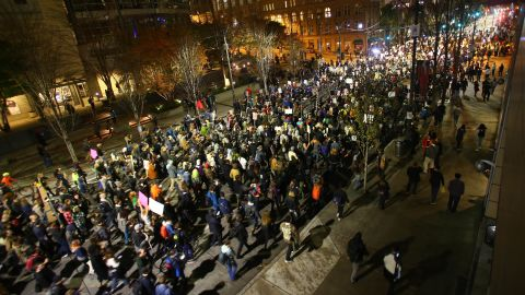SEATTLE, WA - NOVEMBER 09: Thousands of protesters march down 2nd Avenue on November 9, 2016 in Seattle, Washington. Demostrations in multiple cities around the country were held the day following Donald Trump's upset win in last night's U.S. presidential election.  (Photo by Karen Ducey/Getty Images)