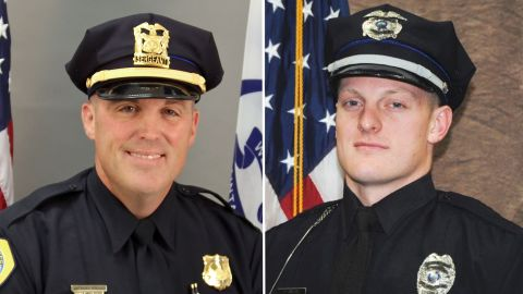Des Moines police Sgt. Anthony Tony Beminio, left, and Des Moines police Officer Justin Martin