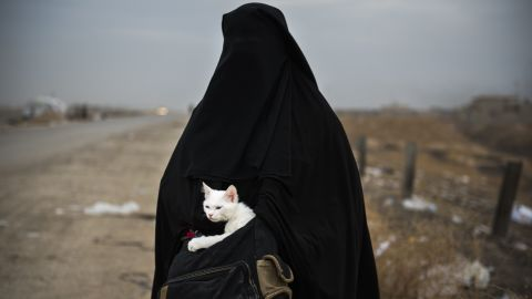 An Iraqi woman displaced by war holds her cat near a checkpoint in the Iraqi village of Shaqouli, east of Mosul, on November 10.