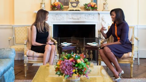 First Lady Michelle Obama meets with Melania Trump for tea in the Yellow Oval Room of the White House, Nov. 10, 2016. (Official White House Photo by Chuck Kennedy)This official White House photograph is being made available only for publication by news organizations and/or for personal use printing by the subject(s) of the photograph. The photograph may not be manipulated in any way and may not be used in commercial or political materials, advertisements, emails, products, promotions that in any way suggests approval or endorsement of the President, the First Family, or the White House.