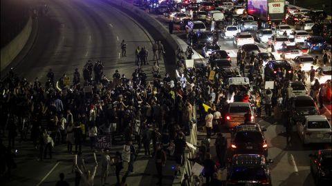 Demonstrators flood the 101 Freeway in Los Angeles on November 10.