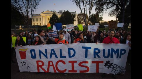 Trump protesters chant outside the White House on November 10.