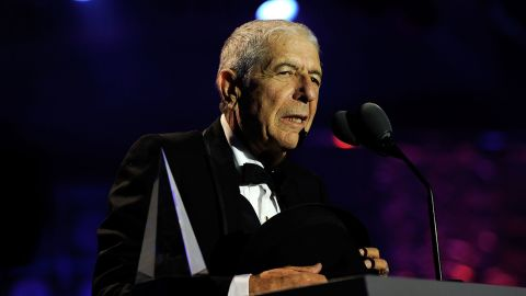 """Cohen speaks during the 41st annual Songwriters Hall of Fame ceremony on June 17, 2010, in New York. His 14th studio album, """"You Want It Darker,"""" had just been released on October 21.<br />"""
